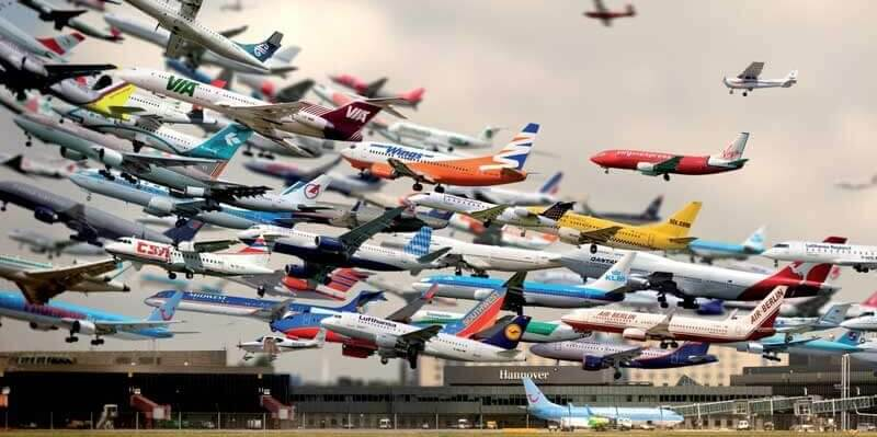 airplanes at an airport